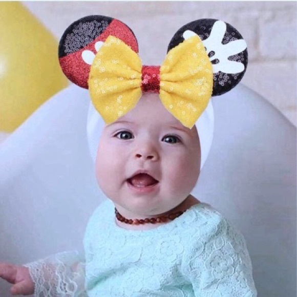 Minnie & Mickey Mouse Sequin Headband with Ears